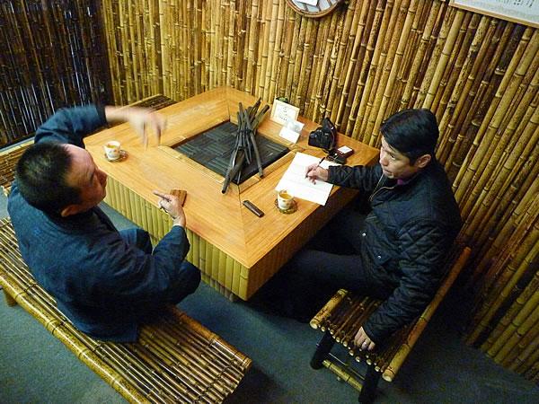 竹の部屋にて