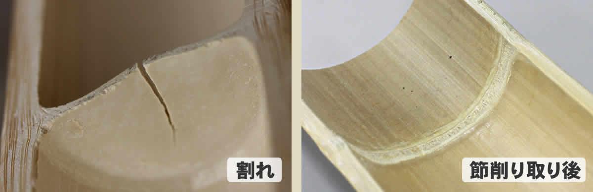 竹踏み(炭化竹)、竹の裏面