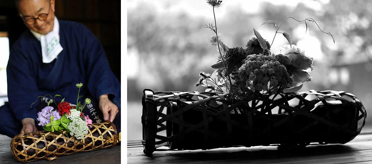 竹花かご、蛇籠、竹虎四代目
