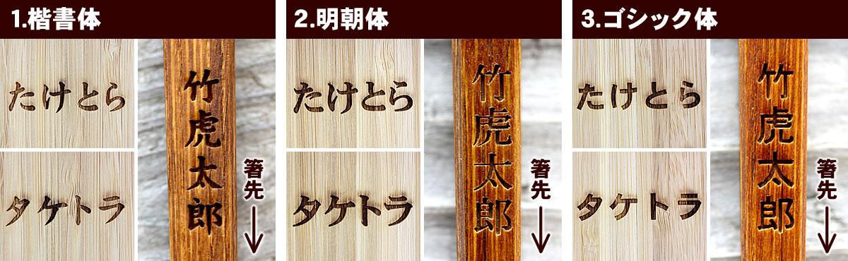ひらがな、カタカナ、漢字の刻印