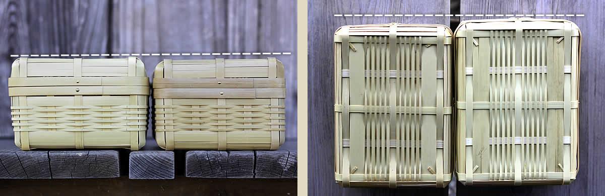 白竹ランチボックス,サイズ,色合いの違い