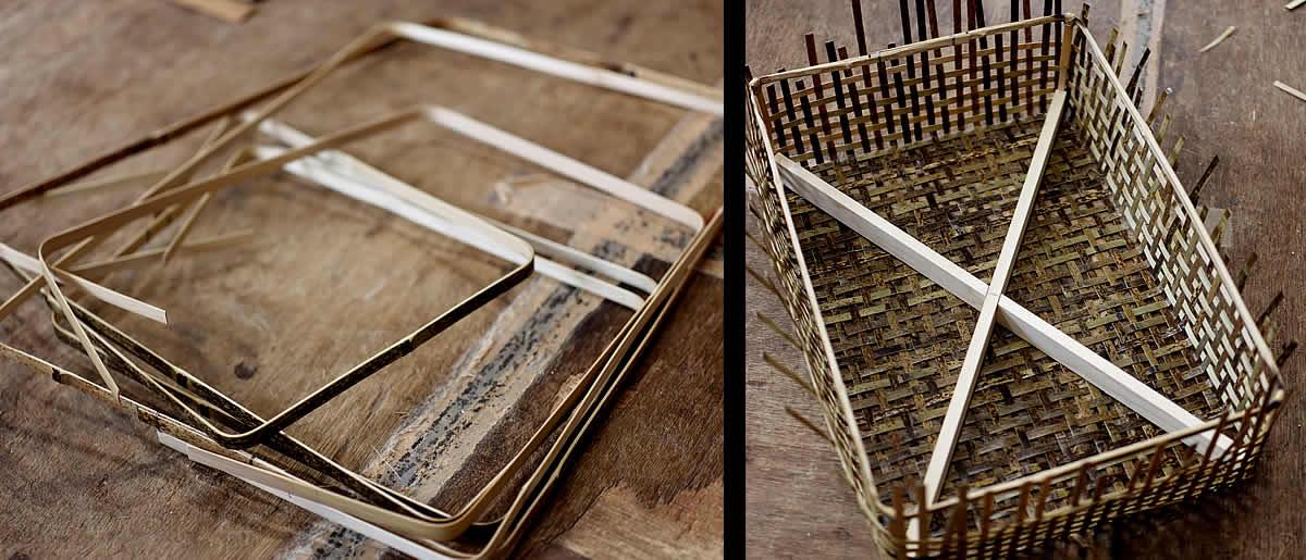 虎竹スクエアバスケットの製造