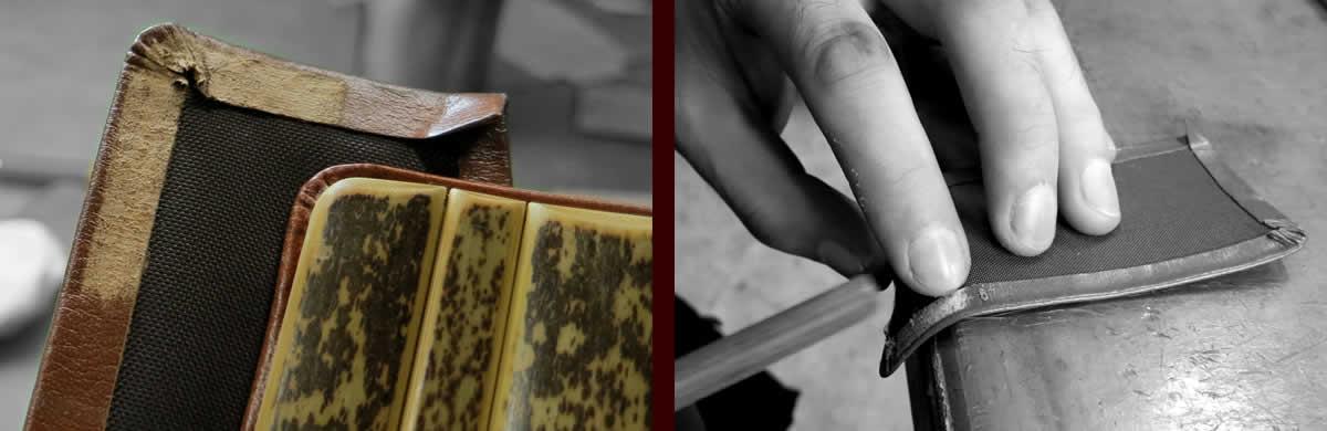 虎竹、竹職人、革削り、接着、革細工