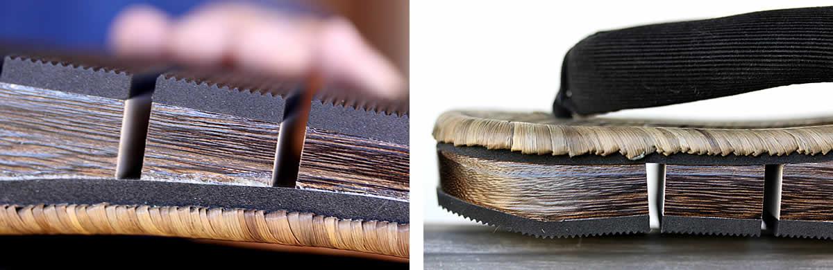 八割BLACK,ゴム底,焼き磨きの桐材