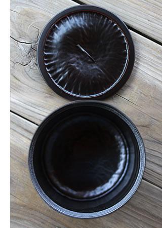 竹水指の蓋と底部分