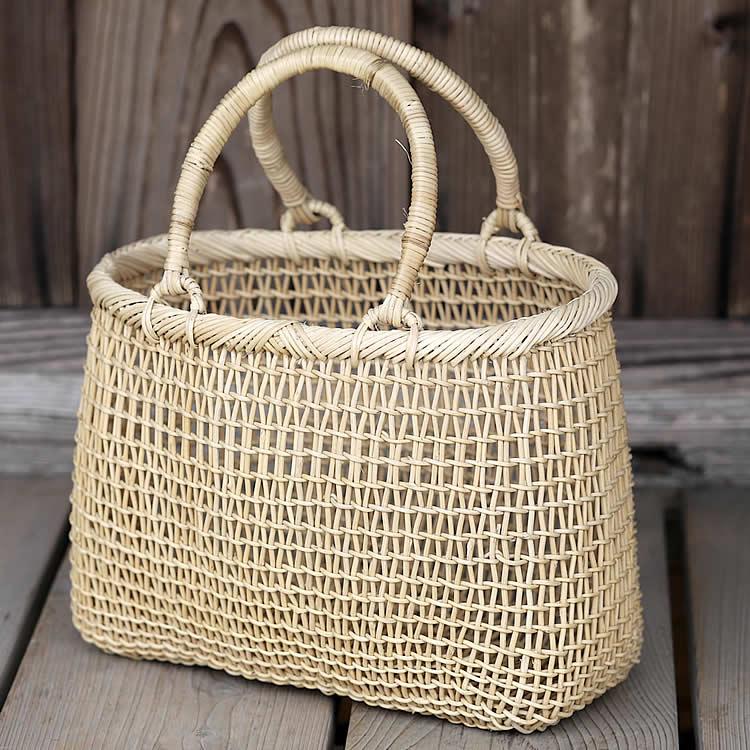 白あけびこだし編み手提げ籠バッグ