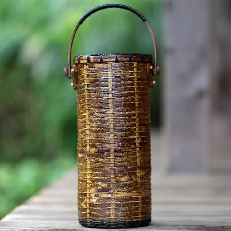 虎竹ワイン籠(漆)