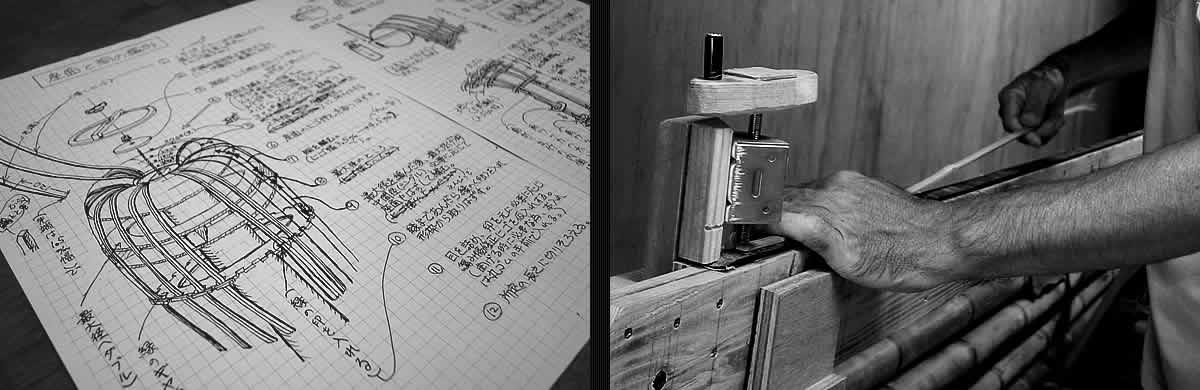 虎竹スツール、設計図