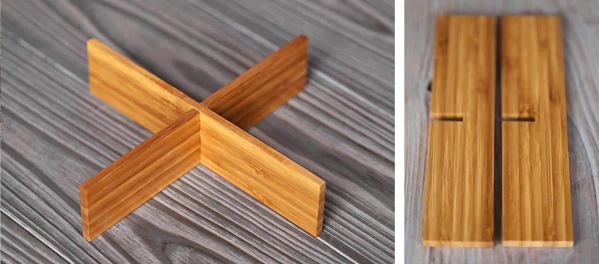 竹二段重箱(十文字仕切り)