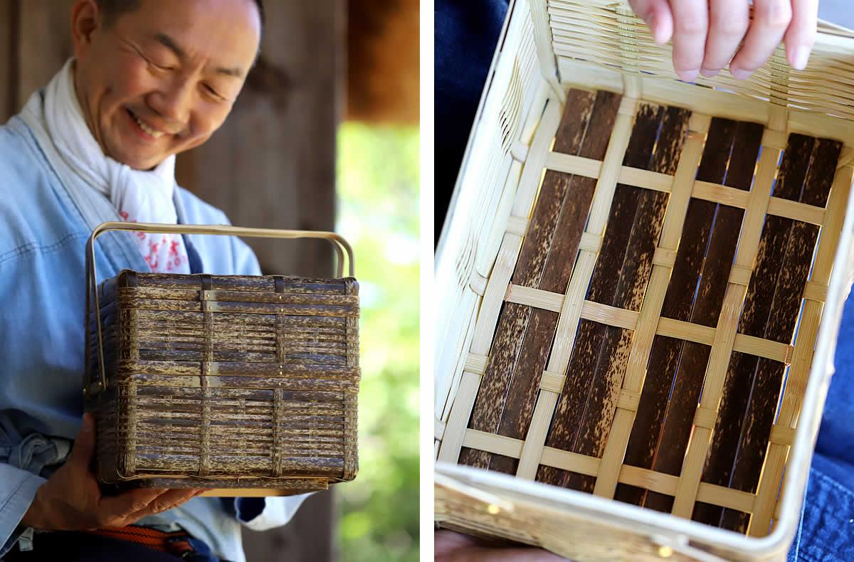 虎竹二段ピクニックバスケット、いかだ編み、一段目