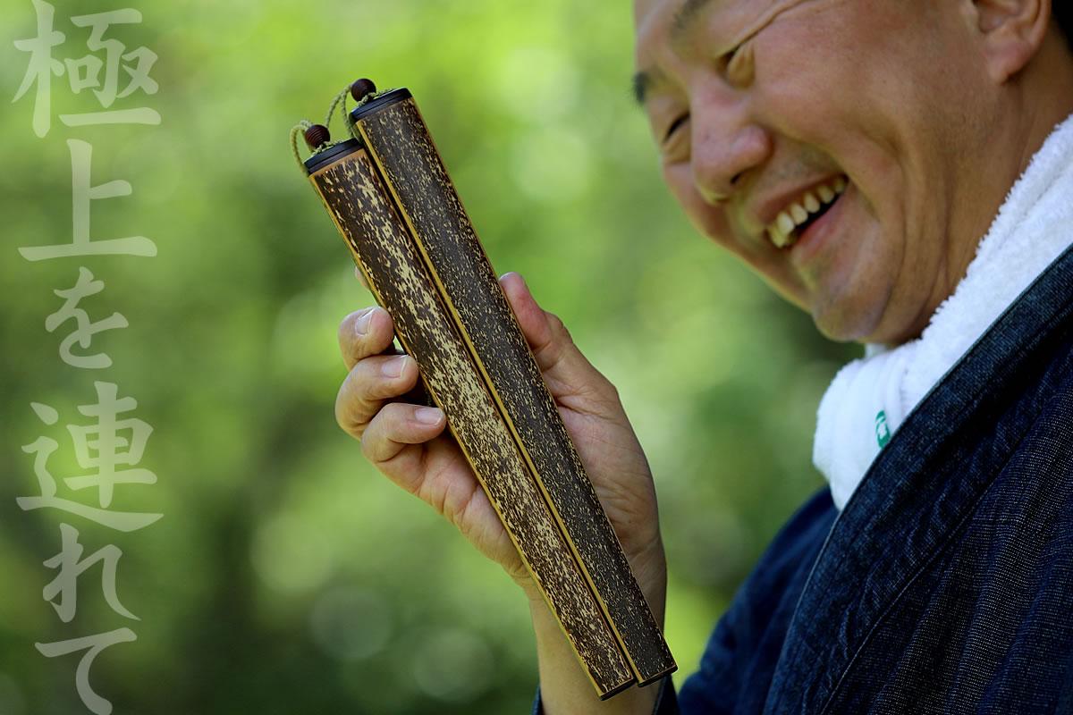 虎竹箸箱(大)と虎竹男箸のセット