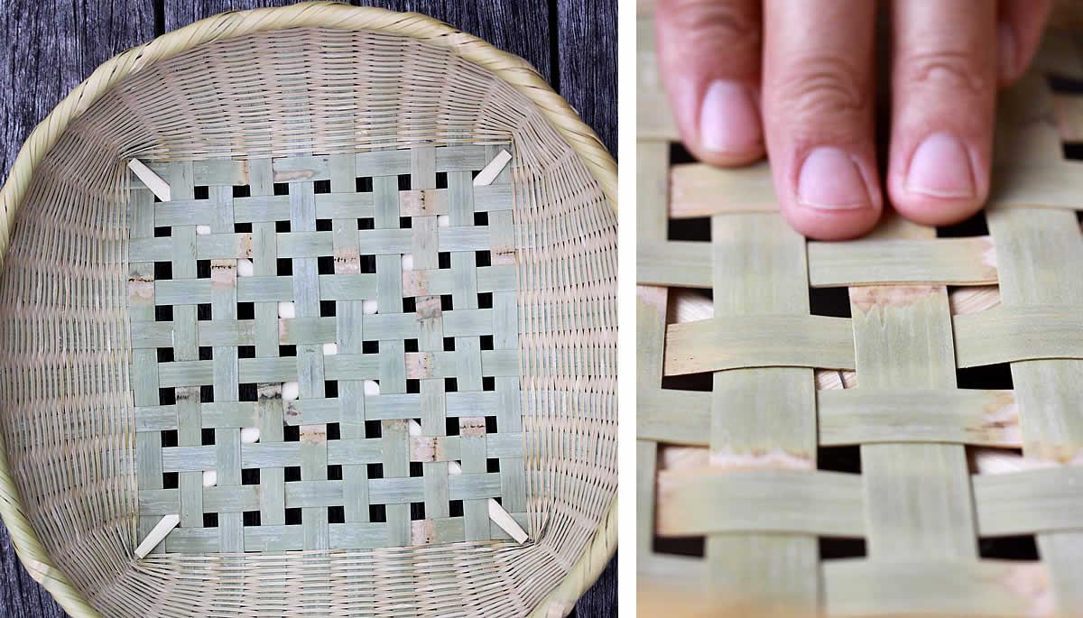 伝統の技が光る淡竹椀かごの底編み