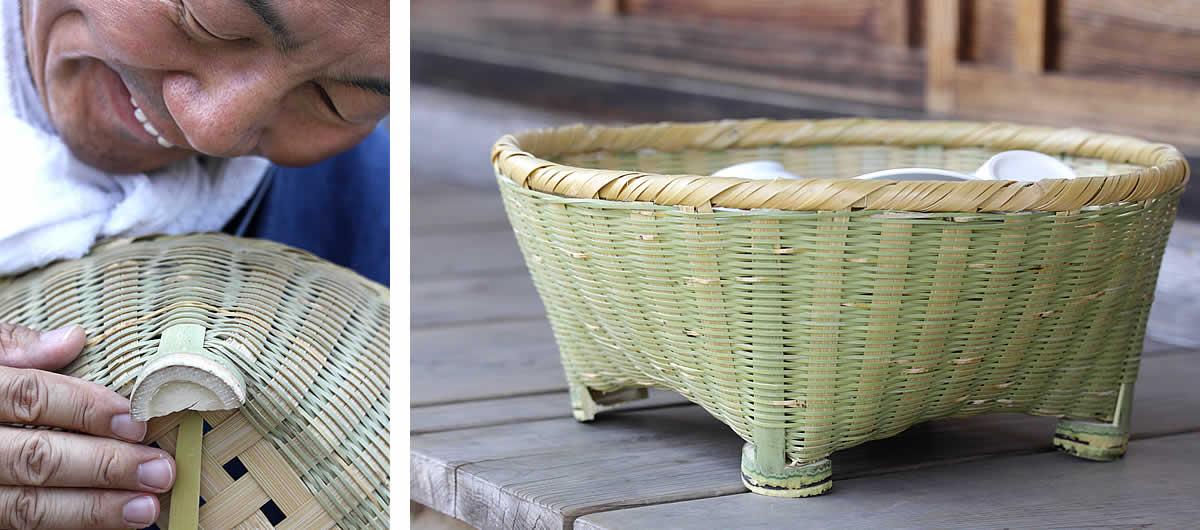伝統の技が光る淡竹椀かごの足付き