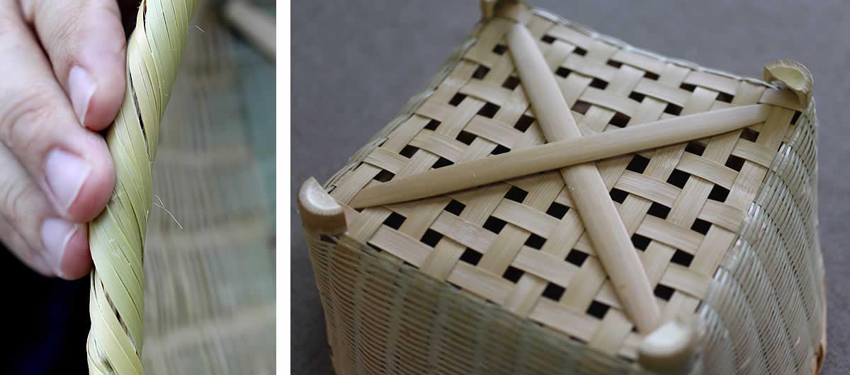 伝統の技が光る淡竹椀かごの縁巻きと力竹