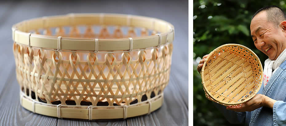 白竹六角足付椀籠