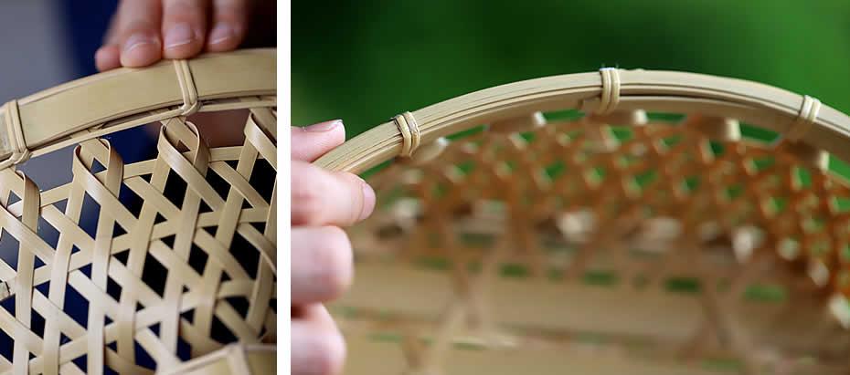 白竹六角足付椀籠,磨き当て縁