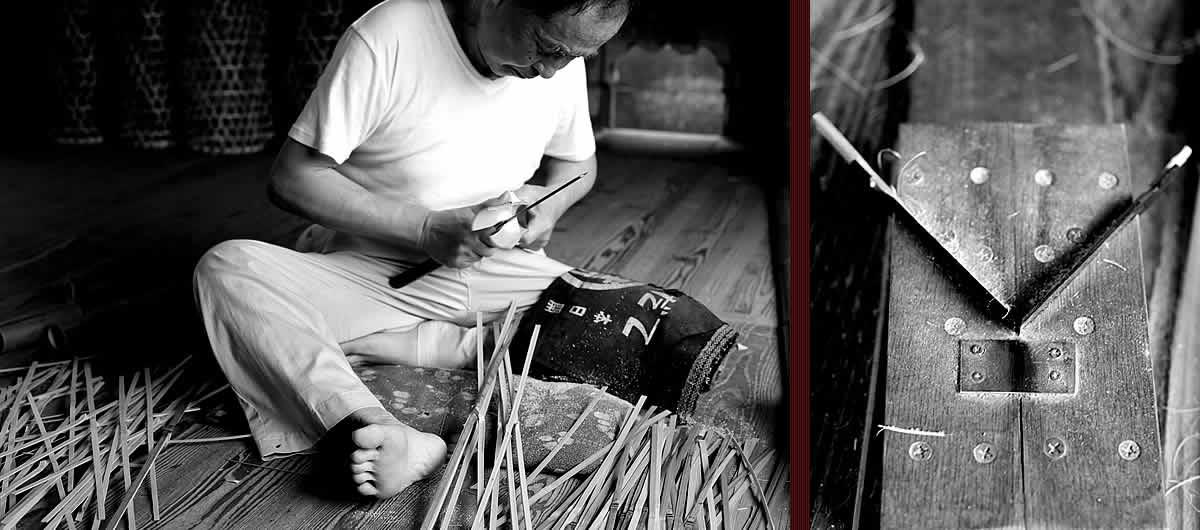 網代底平ざる,竹職人