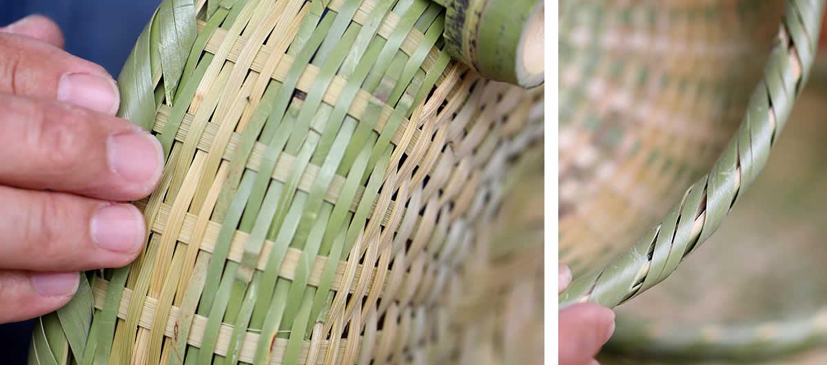 竹編み、縁巻き
