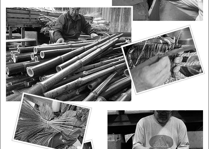 虎竹座敷箒職人と竹皮草履職人の手