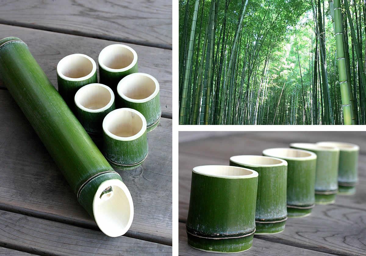 青竹酒器2本とお猪口10個セット,天然青竹