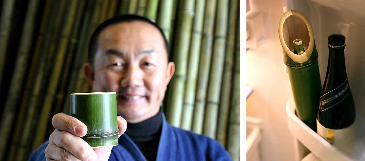青竹酒器2本とお猪口10個セット,冷酒
