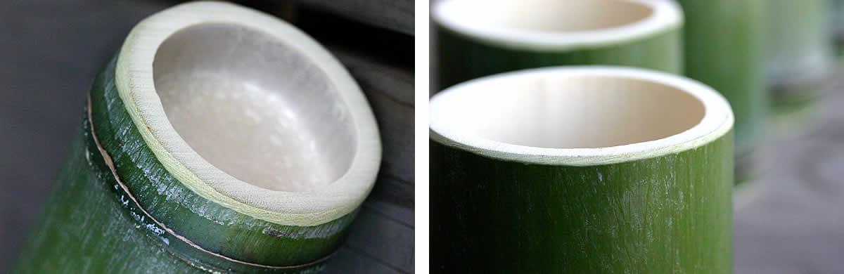 青竹酒器2本とお猪口10個セット,飲み口部分,底部分