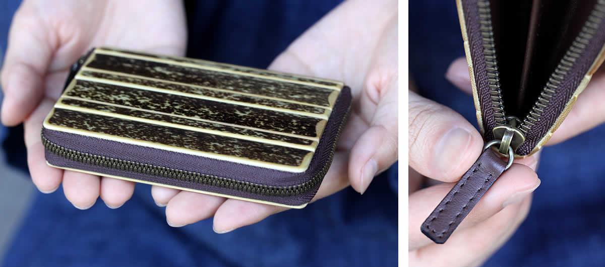 虎竹カード入れ収納、虎斑竹、カードケース、カードホルダー、コインケース、革引き手