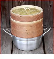 杉蒸篭18cm2段鍋つきセット