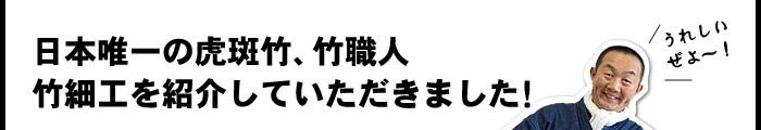 日本唯一の虎斑竹、竹職人