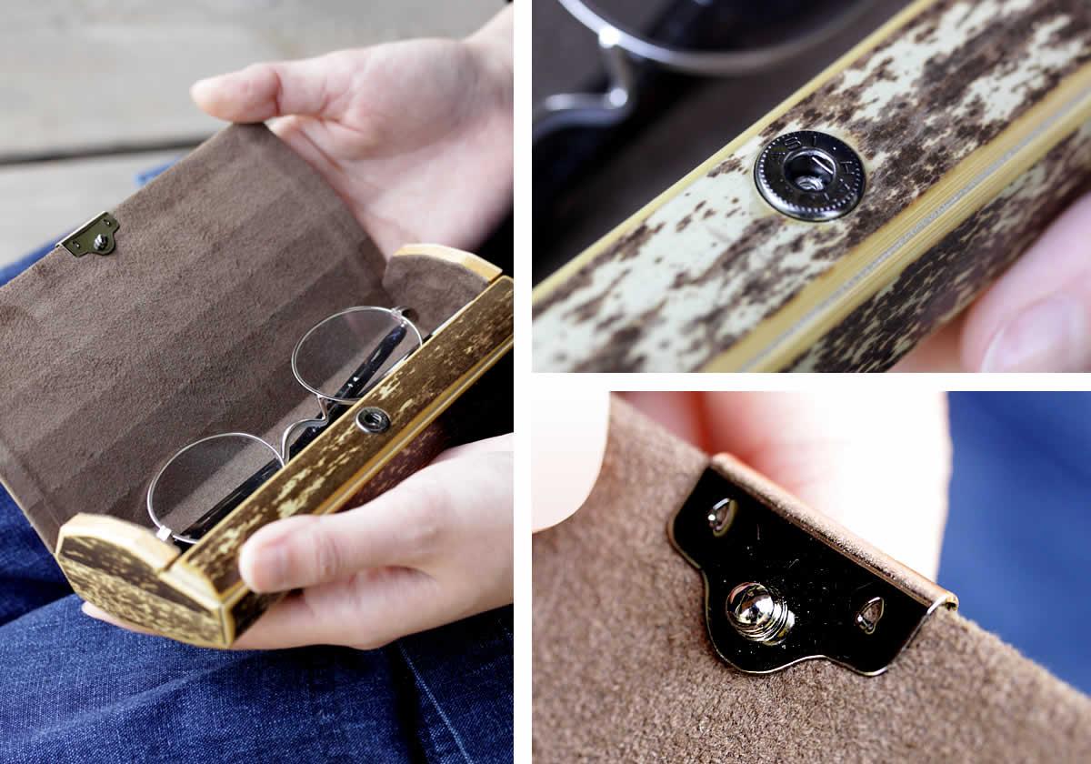 虎竹眼鏡ケース、フタ、ボタン、スエード、内部、機能的、収納、めがね、メガネ