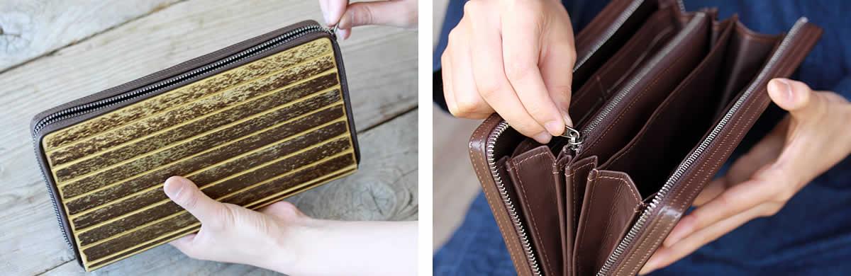 虎竹ジッパー付き長財布,サイフ,竹製