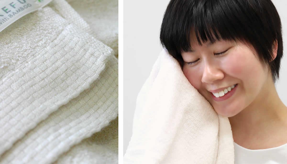 竹布フェイスタオル,端部分,市松模様の縫製