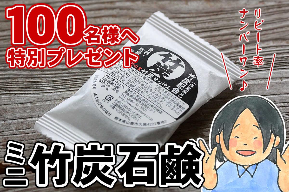 虎竹の里 竹炭石鹸のお試しサンプル。竹虎リピート率ナンバーワンの無添加せっけんをぜひお試しください。