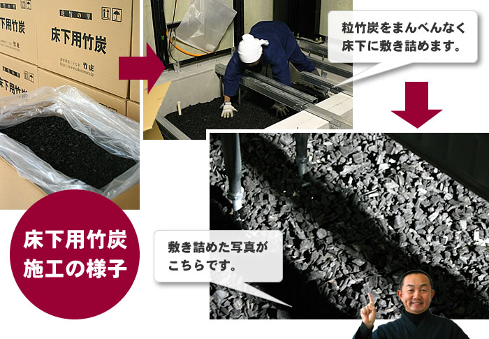 粒竹炭をまんべんなく床下に敷き詰めます。(bamboo charcoal,under the floor,underfloor ventilation system,underfloor odour,humidity conditioning)