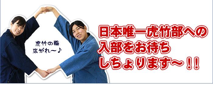 日本唯一虎竹部への入部をお待ちしちょります~!!