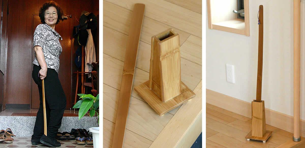 竹のロング靴べらセット