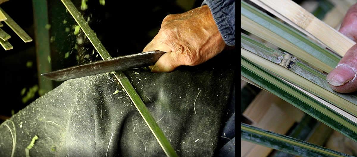 竹ヒゴの磨き