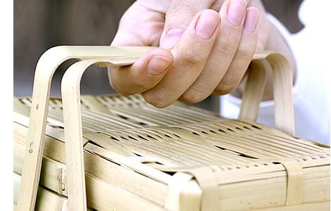 白竹二段ミニ弁当箱(長角)の持ち手
