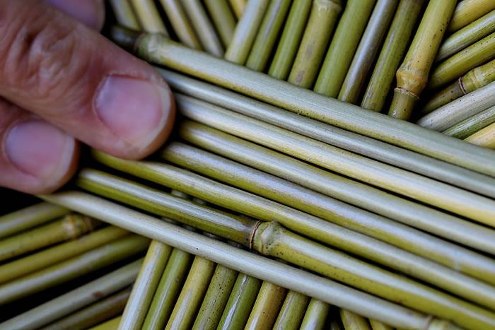 メゴ笹手付籠の素材