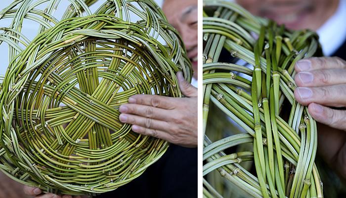 メゴ笹手付籠の底編み