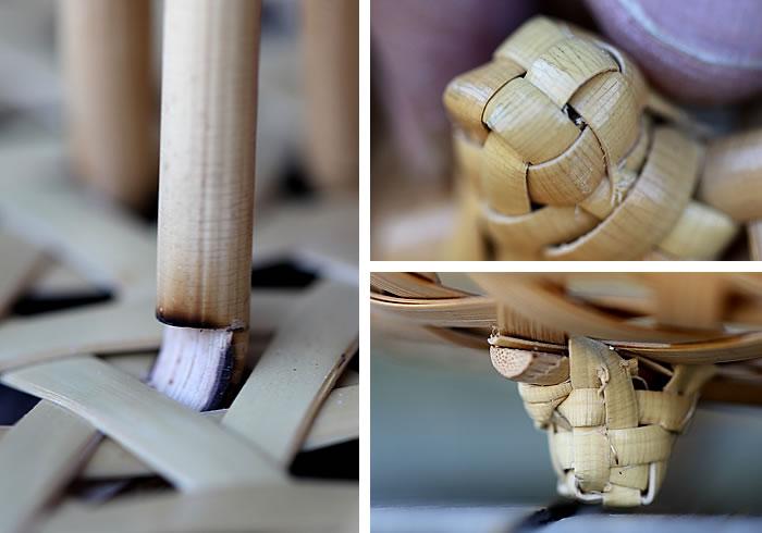 底足部分,白竹持ち手付籠オーバーナイター