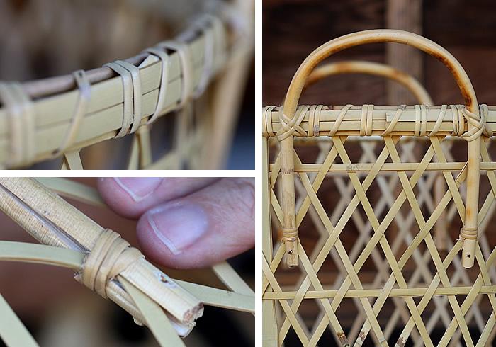 籐の持ち手、縁部分