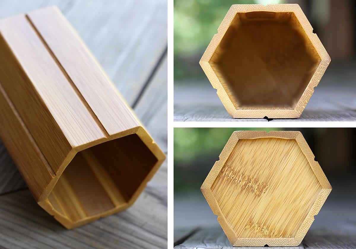 スス竹ペン立て(箸立て)六角、内側、底