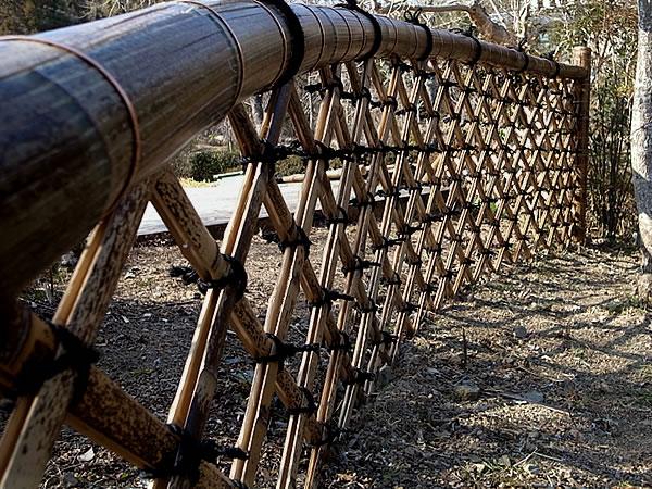 日本唯一の虎斑竹,虎竹,光悦寺垣,垣,施工