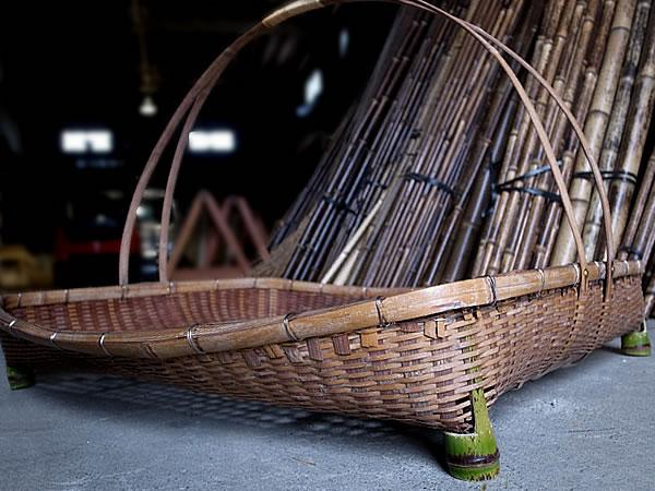 竹虎,竹細工,竹かご,修理