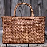 【国産】山ぶどう網代編み手提げ籠バッグ内布付(幅広)