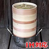 杉蒸篭(せいろ)15センチ3段ガスコンロ・IH対応鍋つきセット