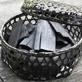 黒編み六ツ目竹炭かご(平)サイズ小