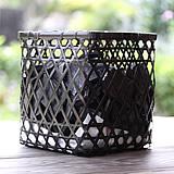 黒編み竹炭かご