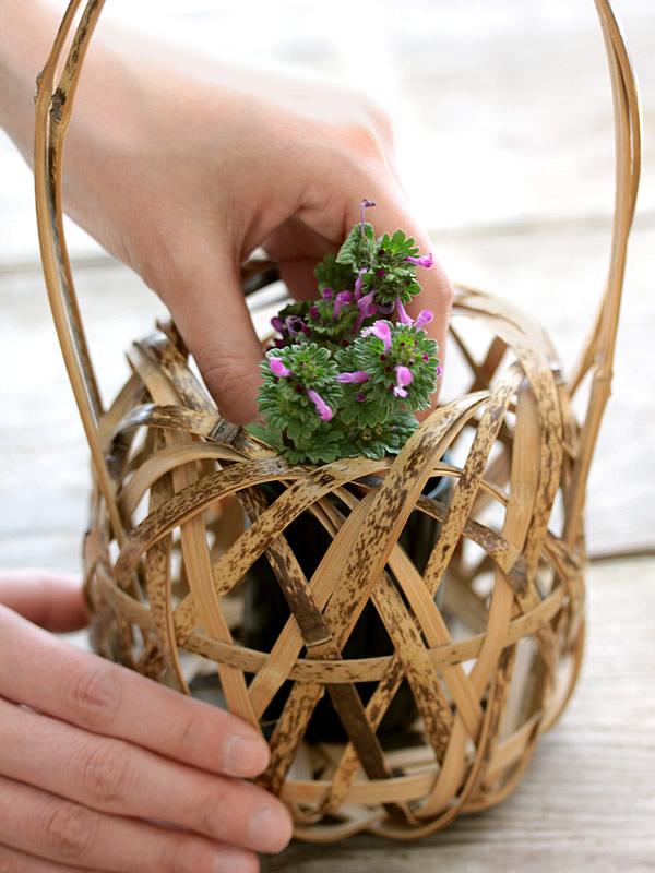 初めての花かご作り♪不器用な自分でも作れた!!